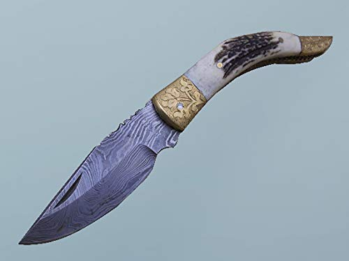 Natural Stag Antler Scale Damascus Steel Folding Knife, Engraved Brass Scale, Comes with Leather Sheath