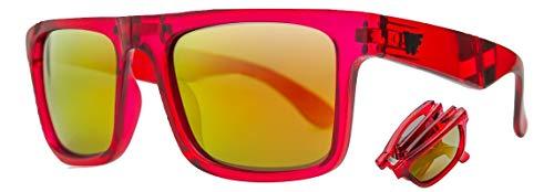 WOLFIRE SC Gafas de sol Plegables Polarizadas para hombre, Filtros UV 400, 100% protección (Rojo/rojo)