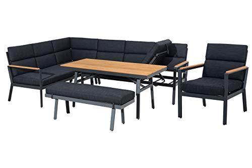 Mandalika Garden Hohe Dining Aluminium Lounge XL Nara Links Polywood, inklusive XL Bank, einem zusätzlichem Sessel und wasserabweisender Kissen