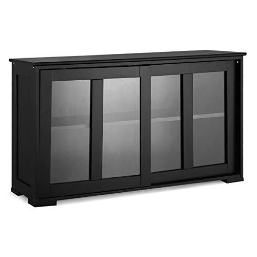 GOPLUS Sideboard, Küchenschrank Farbewahl, Anrichte-Schrank, Badkommode, Beistellschrank, Standschrank, Mehrzweckschrank mit Schiebetüren (Schwarz)