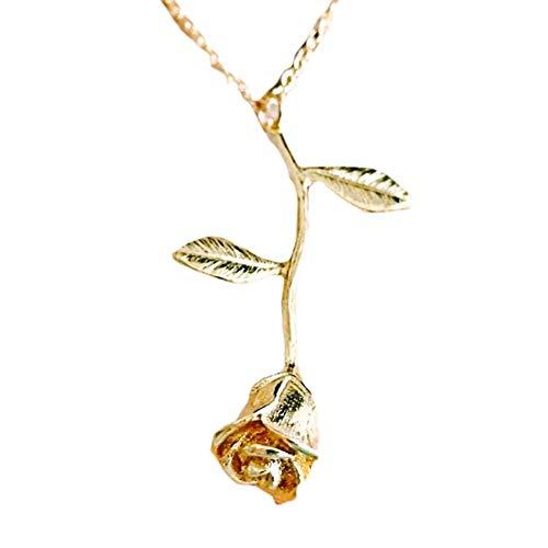 CGAYG Handgemachte Neue Edelstahl Trendy Halskette Stilvolle Rose Blume Anhänger Niedlich Gold