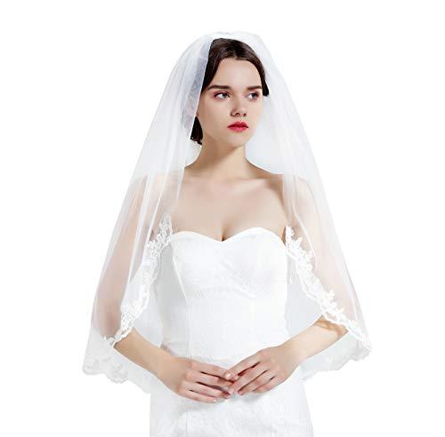 BEAUTELICATE Brautschleier Schleier Spitzenborte Für Braut Hochzeit Softtüll Weiß Ivory Lang Kurz Mit Metall Kamm 1 Schicht V71 - Elfenbein - Gr. Einheitsgröße