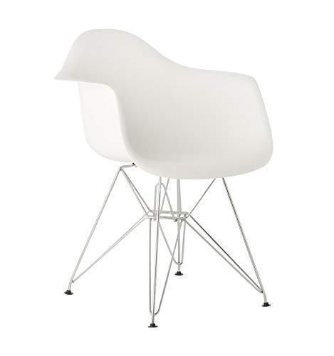 Icons Corner Pack de 4 sillas de plastico con Patas cromadas Color Blanco