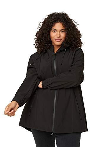Zizzi Damen Große Größen Softshell Jacke Kapuze Outdoorjacke, Schwarz Gr 50-52