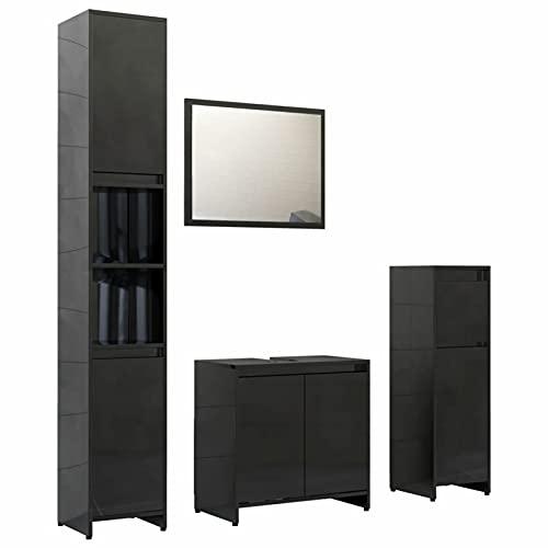 Gawany Conjunto de Muebles de Baño 4 Piezas Juego de Muebles de Baño con 1 Armario Alto,1 Armario Mediano,1 Lavabo,1 Espejo Aglomerado Negro Brillante