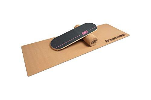 BoarderKING Indoorboard - Classic - Skateboard Surfboard Trickboard Balanceboard Balance Board (Pink, 100 mm x 33 cm (∅ x L))