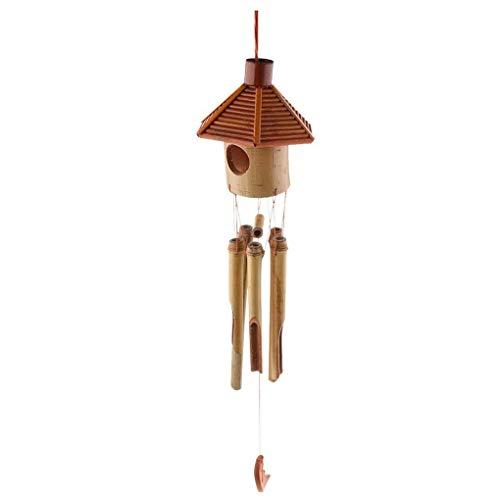 ZANGAO Hexagone Pavillon Bambou Pendentif Lune Wind Chime Vent Bell Bureau de l'école Hôtel Décorations (Color : NO1)