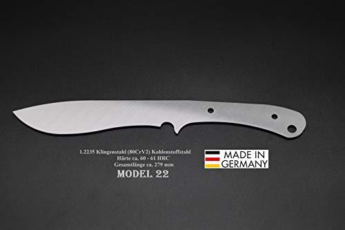 Rohling Messer Model 22 / 279mm Poliert Messerbau Messerstahl Messerklinge Klingenrohling Jagdmesser