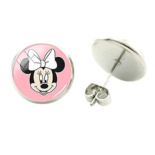 Moda Minnie Mickey pendientes pendientes pendientes de arte de la manera de la artesanía pendientes redondos de cristal cabujón lindo joyería