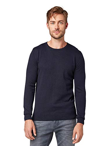 Tom Tailor Rundhals Felpa, Blu (Knitted Navy Melange 13160), Large Uomo