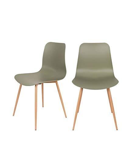Felis Lifestyle LEON Set di 2 sedie in polipropilene, verde, 49 x 44 x 79,5 cm