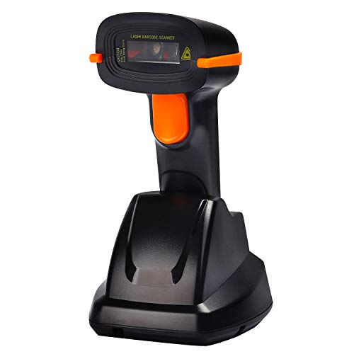 Tera Lettore Codice a Barre (Cavo Wireless 2.4Ghz + USB 2.0) Barcode Scanner Wireless 32 Bit con Base Ricaricabile