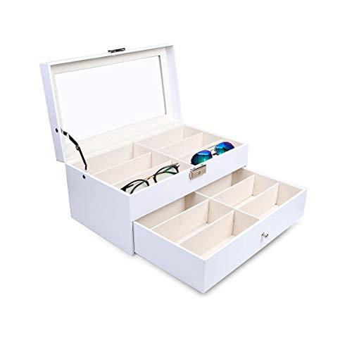 Goetland - Funda de piel sintética para gafas de sol, color blanco