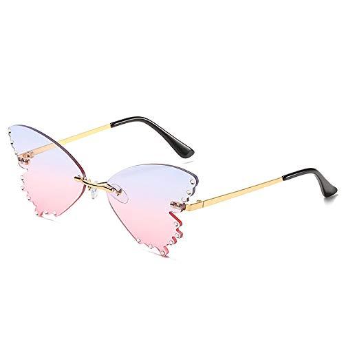 NJJX Gafas De Sol De Diamantes Sin Marco Con Forma De Mariposa, Gafas De Lujo Con Espejo De Ojo De Gato Sin Montura A La Moda Para Mujer, Gafas Steampunk De Gran Tamaño, Oro, Azul, Rosa