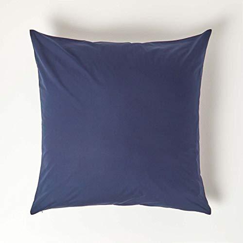 HOMESCAPES Taie d'oreiller 80x80 cm en 100% Coton égyptien 200 Fils Coloris Bleu Marine