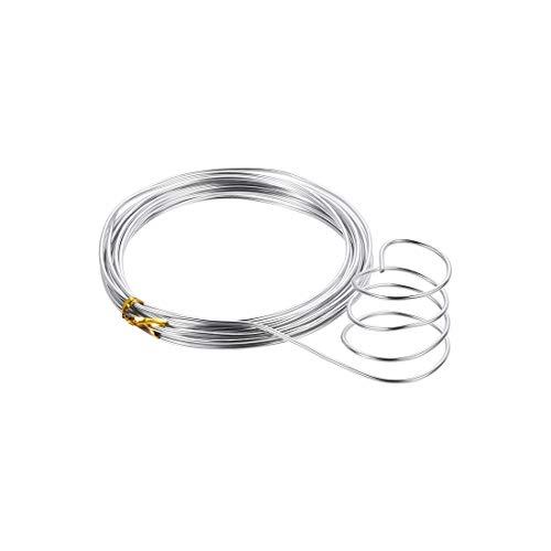 uxcell - Alambre de aluminio (16 pies de 2 mm de diámetro, alambre de metal flexible, tono plateado para manualidades