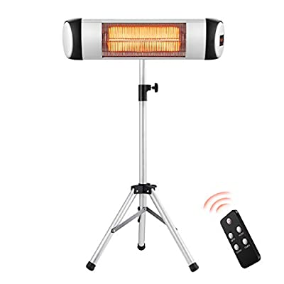 RMYHOME Infrared Patio Heater, Free-Standing & Wall-Mounted Electric Heater for Outdoor or Indoor, Adjustable Stainless Steel Tripod, Energy Saving and Safety Protection