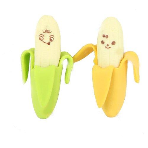 Domire – 2pcs de la novedad Plátano Estilo lápiz borrador de goma Papelería Kid juguete de regalo, color no. 1