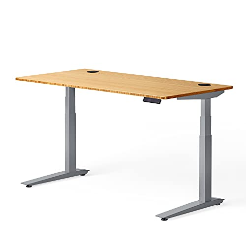 Fully Jarvis Standing Desk 72' x 30' Natural Bamboo Top - Electric Adjustable Desk Height from 25.5' to 50.7' with Memory Preset Controller (Rectangle, Silver Frame)