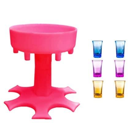 6 Toma de Vidrio Dispensador Titular Carrito Caddy Dispenser Bar Cóctel Cocktail Estante Accesorios Cerveza Rápido Relleno Herramienta Bebida Bebida (Color : Pink)