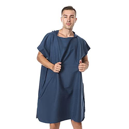 Poncho de toalla para cambiar la playa, con capucha para practicar surf, natación, traje de neopreno para mujeres y hombres (azul marino)