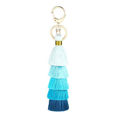 JTMall Handmade Tassel Keychain with Keyrings for Women, Gril (Gradual blue)