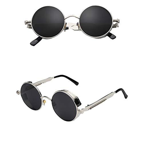 iCerber UV400 100{2d86961213cb55e66aa52961e387185b242a687a4b411164acb52aac166a59f6} UV-Schutz Unisex-Sonnenbrille, klassische Steampunk-Wind-Retro-Sonnenbrille runder Outdoor-Sportreisesonnenbrille mit Brillen-Etui.