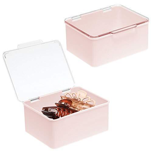 mDesign Kosmetik Organizer für das Waschbecken oder Badregal – Aufbewahrungsbox mit Deckel für Make up, Nagellack usw. – stapelbare Schminkaufbewahrung aus Kunststoff – 2er-Set – hellrosa/durchsichtig