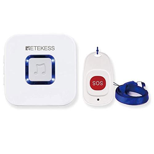 Retekess TH101 Sistema de Llamadas de Emergencia Inalámbricas Receptor de Timbre y Timbre de Puerta Pequeño SOS Regalo para Niños Ancianos Gravida en Hogares de Ancianos del Hospital Familiar