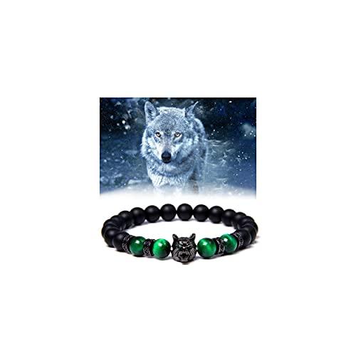 Save A Wolf Bracelet, Salva Un Brazalete De Lobo, Pulsera Con Cabeza De Lobo, Pulsera De Roca De Lava Con Cabeza De Lobo, Ojo De Tigre De 8 Mm, Adecuada Para Una Variedad De Uso Diario (Verde)