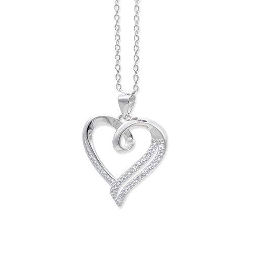 Damen-Kette 925 Sterlingsilber Heart/Herz - Pendant Anhänger für Frauen/Damen Halskette/Anhänger Silber 925 Damen/kette in silber/Halskette in silber/Silberkette Damen