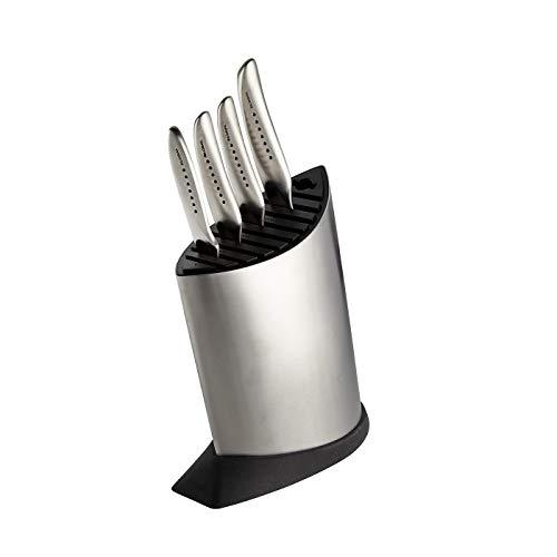 Global SAI-5001 5 Piece Knife Block Set, Silver
