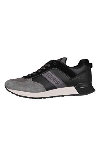 Colmar Sneackers Man Travis Runner Premier 2021 Dentelle Noir Gris foncé Suede Une Chaussure Confortable décontracté adapté à Toutes Les Occasions. Automne Hiver 2020-2021. UE 40