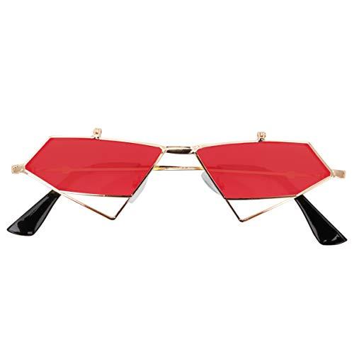 LUOEM Gafas de Sol Steampunk Moda Estrangular Gafas de Moda Gafas de Sol Gafas Favores de Fiesta Rojo