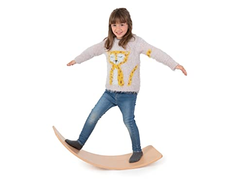CONTRAXT Tabla Curva Montessori niños. Juguetes y Juegos Tabla de Equilibrio de Madera Montessori Niños Balance Board Bebe wobbel Balancin Waldorf Psicomotricidad Infantil