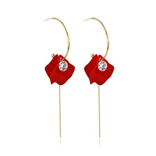 Pendientes colgantes de pétalo, de gota larga, pendientes de borla floral exagerados, para novias, mujeres, novias, decoración de boda, pendientes de moda (color rojo)