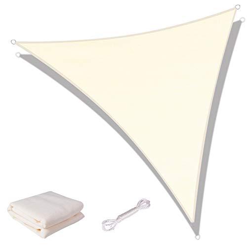 SUNNY GUARD Toldo Vela de Sombra Triangular 5x5x7m HDPE Transpirable protección UV para Patio, Exteriores, Jardín, Color Crema