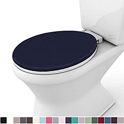 Gorilla Grip Original Thick Memory Foam Bath Room Toilet Lid Seat Cover, 19.5 Inch x 18.5 Inch Size, Machine Washable, Plush Fabric Covers, Fits Most Size Toilet Lids for Kids Bathroom, Navy Blue