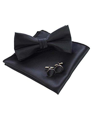JEMYGINS Schwarz Fliege und Einstecktuch mit Manschettenknöpfe Sets für Herren Hochzeit Seidenfliegen (9)