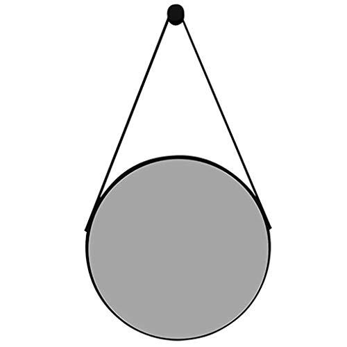 Nützlicher kreisförmiger Wandspiegel, Badezimmer Wandmontage dekorative Spiegel Lederband Moderner runder hängender Schminkspiegel, für Flur Wohnzimmer Schlafzimmer