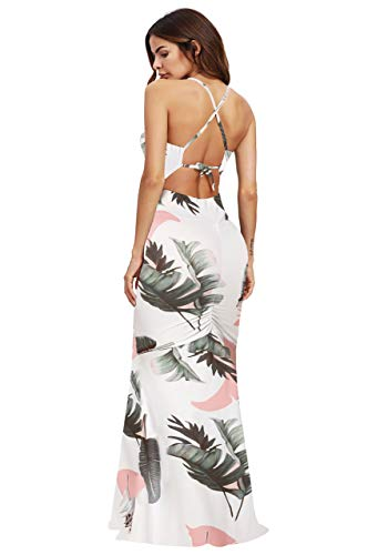 SheIn Women's Floral Strappy Backless Summer Evening Party Maxi Dress White Banana Leaf Small