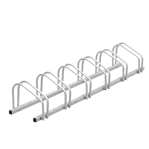 iclbc Bike Rack Garage 6 Bicycle Stand Steel Bike Storage Adjustable Bike Parking Rack, Silver