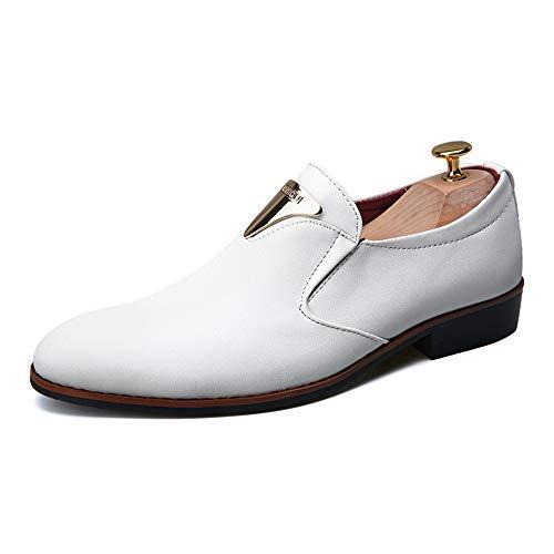 Unbekannt Schuhe Business-Freizeitmode Oxford der modernen Männer Breathable Anti-Rutsch-Formale Schuhe Lederschuhe (Color : Weiß, Größe : 43 EU)