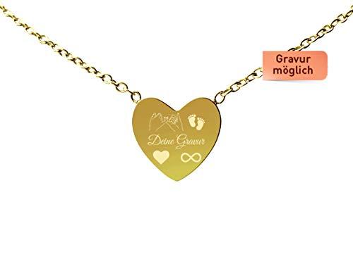 Tu Es Belle Premium Herzkette mit Gravur – Kette mit Herz Love mit 18k Gold vergoldet, Frauen Halskette mit Herz Anhänger Kette, Goldkette (Herz Gold)