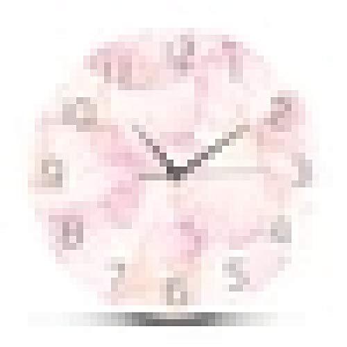 Reloj de Pared Pétalo de Flor Rosa Diseño Moderno Reloj de Pared Niña Guardería Boho Chic Arte en Colores Pastel Dormitorio Decorativo Flor Floral Arte Reloj de Pared