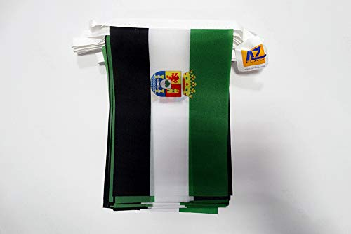 AZ FLAG Guirnalda 6 Metros 20 Banderas de Extremadura 21x15cm - Bandera EXTREMEÑA 15 x 21 cm - BANDERINES