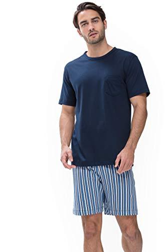 Mey Night Breiter Streifen Herren Schlafanzüge kurz Blau 52