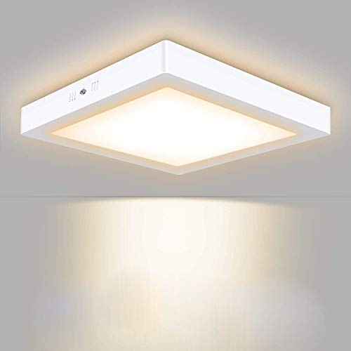 Volasal LED Deckenleuchte, Quadrat LED Panel Deckenlampe 24W ersetzt 150W Glühbirne, 30x30x3.8cm, 2000lm, Warmweiß (3000K), Metall Rahmen, Ideal für Schlafzimmer Küche Wohnzimmer, Nicht Dimmbar