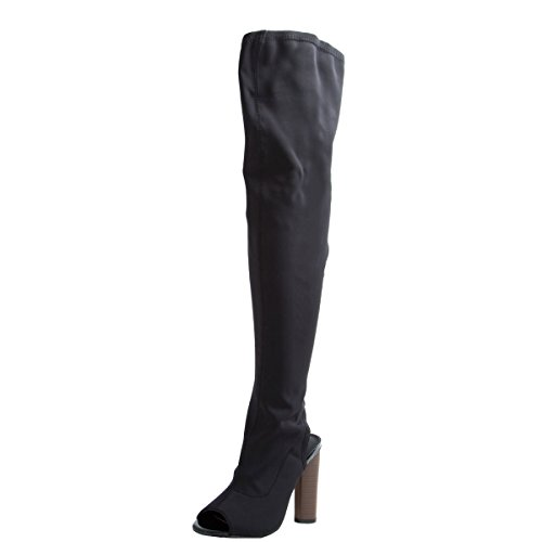 Cape Robbin Connie-1 Women's Over The Knee Peep Toe Stacked Heel Boots Half Size Big,Black,8.5