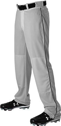 Alleson 605WLB Adult Baseball Pants With Braid GR BK  GREY BLACK AL by Alleson Athletic